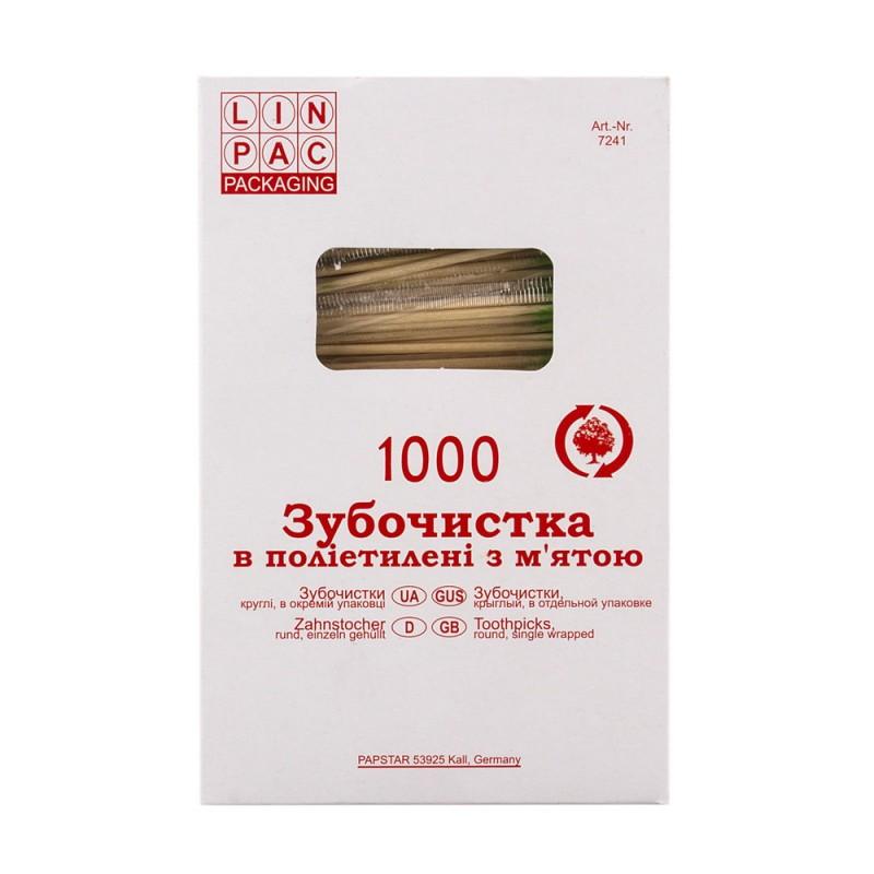 Зубочистки 65 мм 1000 шт в целлофане мята Linpac